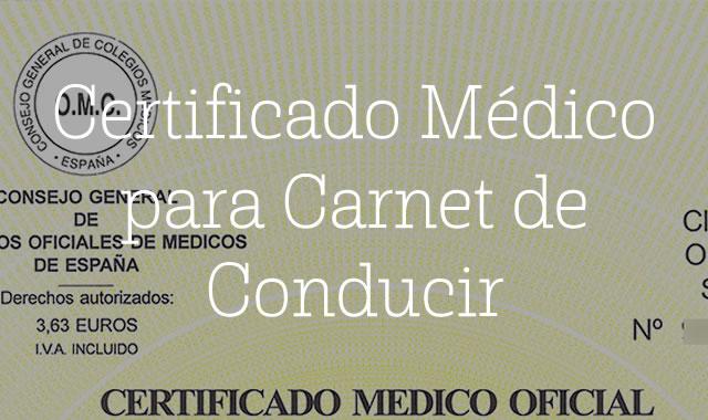Certificado Médico para Carnet de Conducir